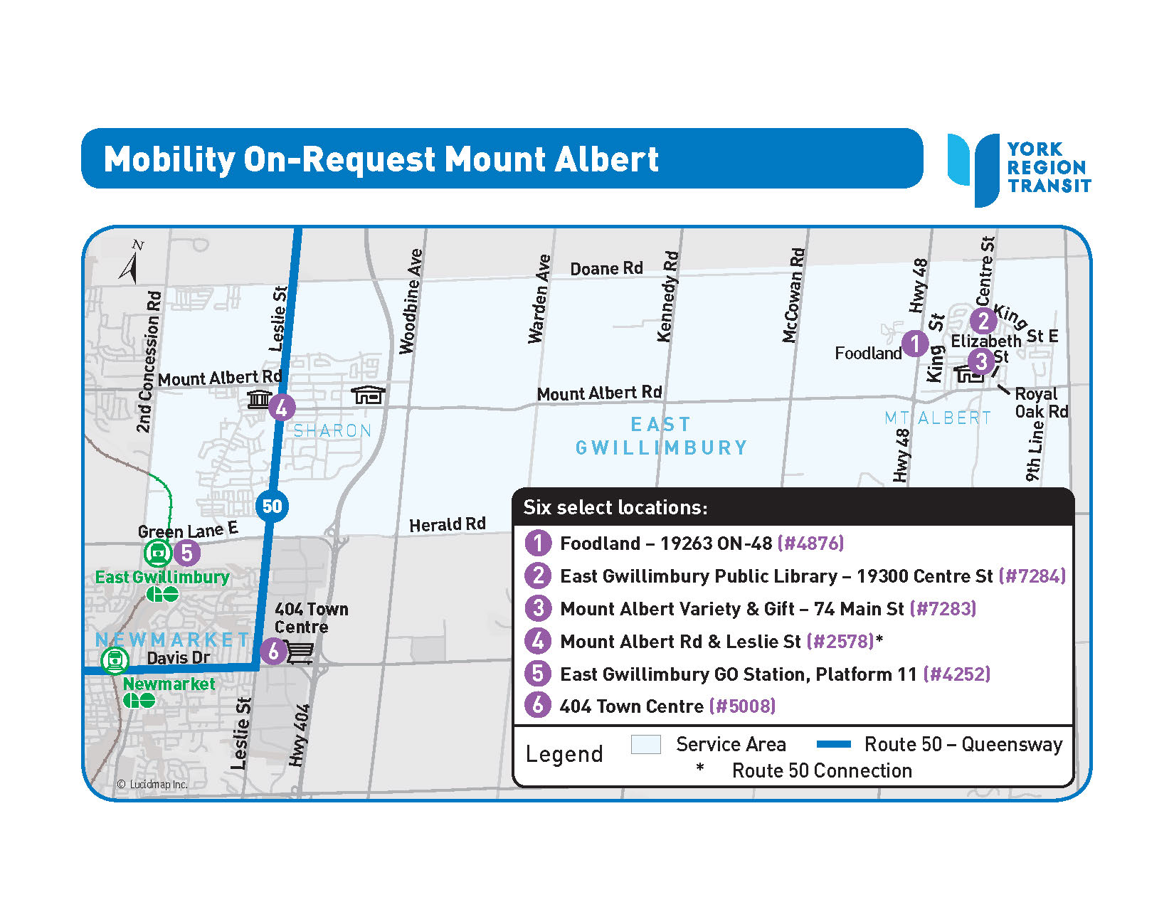MOR Mount Albert service area map