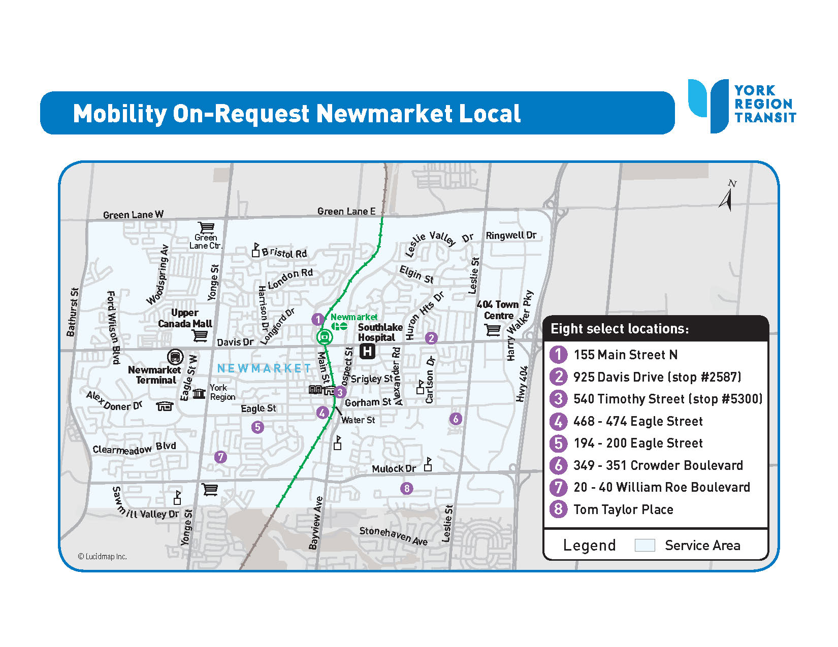 MOR Newmarket Local service area map